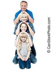 quatre, poser, famille, rang
