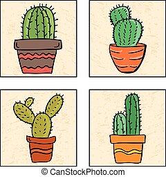quatre, pot, cactus