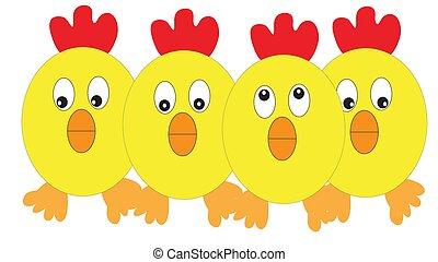 quatre, poulets