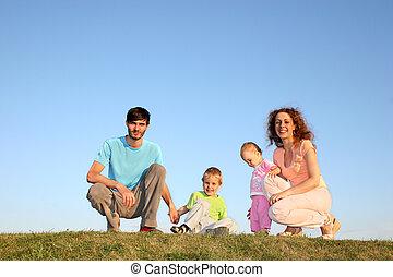 quatre, pré, famille