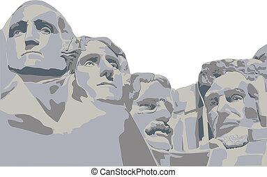 quatre, présidents, bâti rushmore