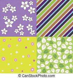 quatre, printemps, seamless, motifs