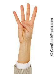 quatre, projection, doigts