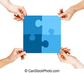 quatre, puzzle, mains, connecter, morceaux