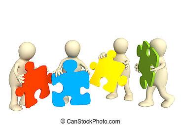 quatre, puzzle, marionnettes, tenant mains