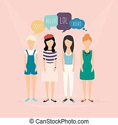 quatre, réaction, discussion., concept, média, communicate., filles, illustration, revues, words., vecteur, parole, social, communication, bulles, relater