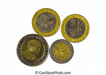 quatre, république, pièces, métal, kenya