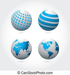 quatre, résumé, ensemble, globe, vecteur