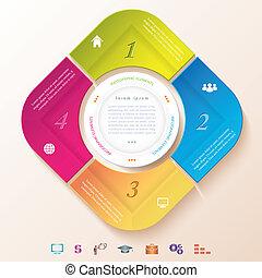 quatre, résumé, infographic, segments, conception, cercle