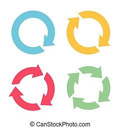 quatre, reload, flèche, icônes