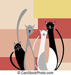 quatre, rigolote, chats