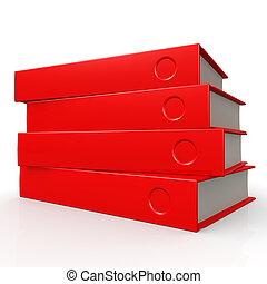 quatre, rouges, livres