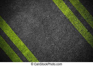quatre, route, texture, jaune
