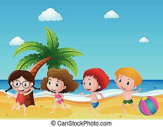 quatre, sable, jouer, scène, enfants