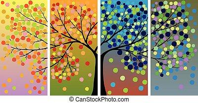 quatre, saison, arbre