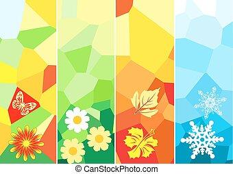 quatre, saison, bannières, conception, ton
