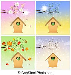 quatre, saison, birdhouse