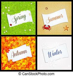 quatre, saison, carte postale