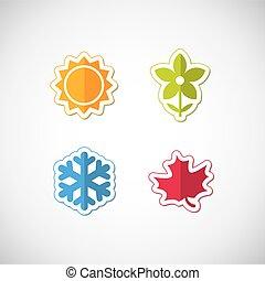 quatre, saison, icônes