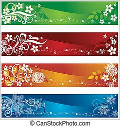 quatre, saisonnier, bannières, fleurs