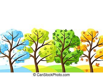 quatre saisons, arbres, arrière-plan.