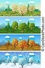 quatre saisons, bannières, ensemble, paysage