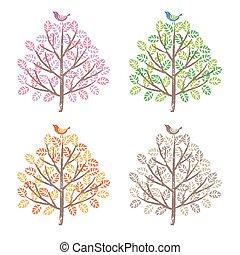 quatre saisons, bir, arbres, coloré