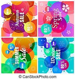 quatre saisons, coloré, vente, fond