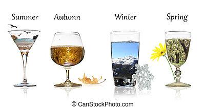 quatre saisons, concept., les, beauté, de, nature