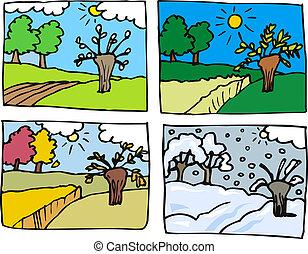 quatre saisons, dessin animé, illustration