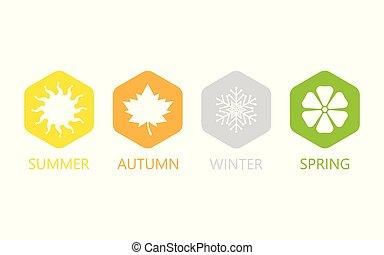 quatre saisons, ensemble, icons.