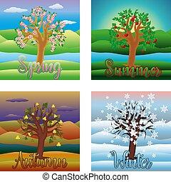 quatre saisons, fond, vecteur, illustration