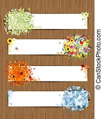 quatre saisons, -, printemps, été, automne, winter., bannières, à, endroit, pour, ton, texte