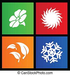 quatre saisons, style, métro, icônes