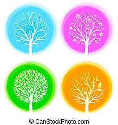 quatre saisons, vecteur, arbres