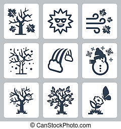 quatre saisons, vecteur, ensemble, icônes