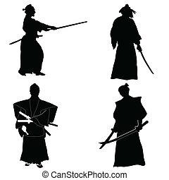 quatre, samouraï, silhouettes