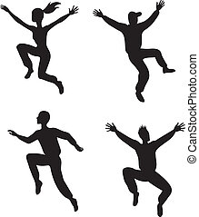 quatre, sauter, gens
