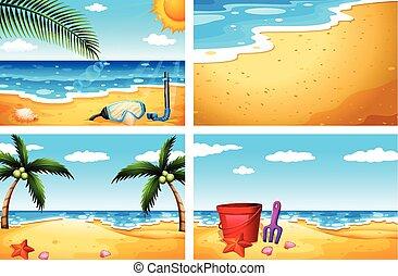quatre, sceneries, plage