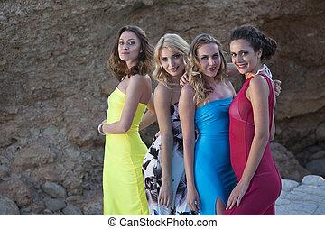 quatre, sexy, filles
