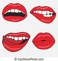 quatre, sexy, lèvres, ensemble