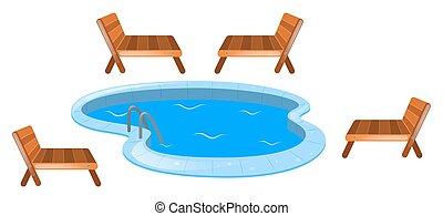 quatre, sièges, piscine, autour de