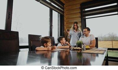quatre, sien, famille, gens, windows., père, deux,...
