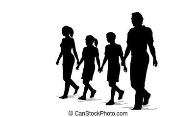quatre, silhouette, famille, marcher