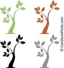 quatre, simple, arbre