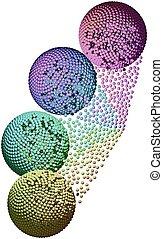 quatre, sphères, dans, connexion