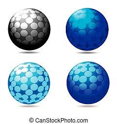 quatre, sphères, résumé, ensemble