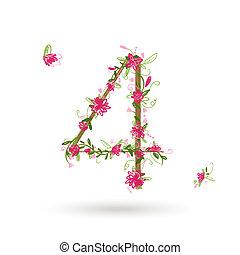 quatre, stylique floral, nombre, ton