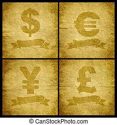 quatre, symbole monétaire