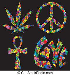 quatre, symboles, fleur, rempli, 60s